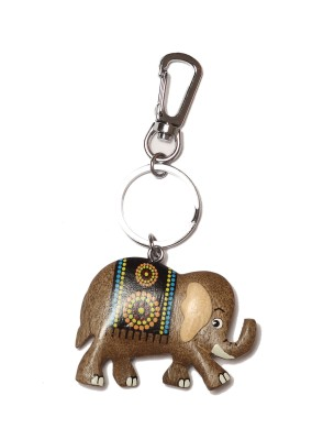 Thinksters Handcrafted Wooden Elephant KeyChain Locking Carabiner