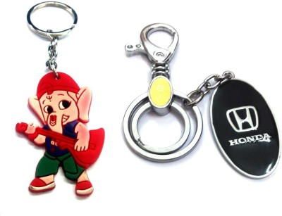 Ezone Imported Metal Honda Locking & Rubber Ganesh Key Chain Locking Key Chain