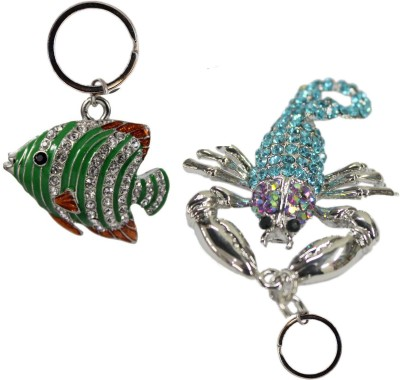 Tootpado Animal Fish, Scorpion (Pack of 2) - 1o153 - Stylish Stone Metal Crystal Keyring Rhinestones Purse Pendant Handbag Charm Key Chain