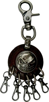 Get Fatang Biker Collection Round Leather Skull with Hook Locking Key Chain