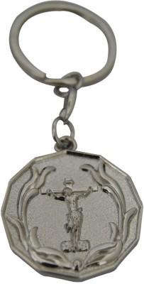 Aaradhi Divya Mantra Jesus Cross in Oval Beautiful Metallic Locking Key Chain