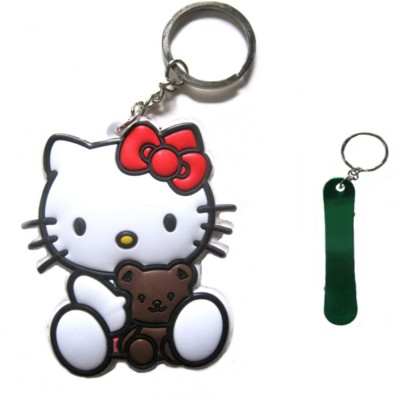 Optimum Deal Cute Cartoon Character Hello Kitty Figure(M-22) Double Sided Rubber Key Chain