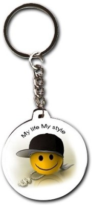 Smileonline Smiley Round Wood01 My Life My Style Key Chain