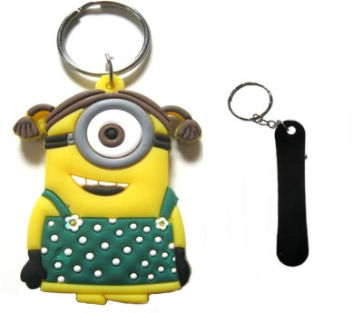 Optimum Deal Cute Despicable Me Minion Figure (M17) Double Sided Rubber Key Chain
