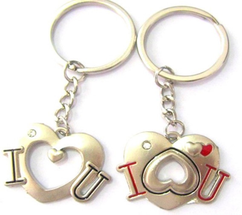 CTW I love You Heart Valentine Metal Pack Of 2 Locking Key Chain(Silver)