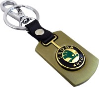 Tech Pro Golden Colour Skoda Locking Key Chain(Multicolor)