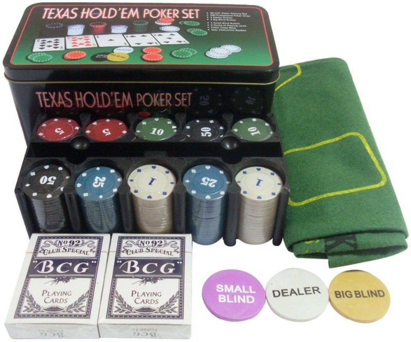 BS Spy Texas Hold'Em Poker Set (Tin Case) – 200 Chips Duplex Centered Board(Multicolor)