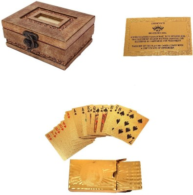 Jewel Fuel Playing Cards With Exclusive Wooden Gift Box In 24k 100 Dollar