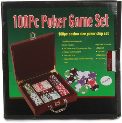 Chrome 100 Pc Casino Size Poker Chip Game Set 0086