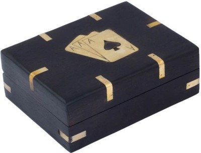 Craft Art India Handcrafted Wooden Single Playing Card Set Holder Box