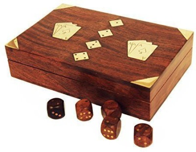 Store Indya Handmade Wooden Playingstorage Box With 5 Wooden Dice