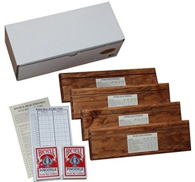 D&W Custom Wood Designs Double Deck Pinochle Holder Gift Set Includes 4 Wooden