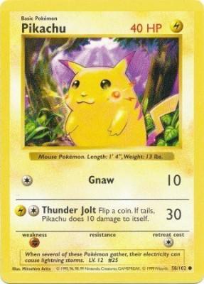 Pokemon Pikachu Basic 43/102 Shadowless Red Cheeks Misprint