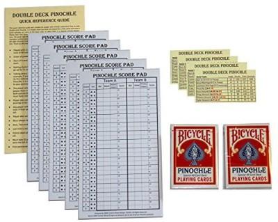 D&W Custom Wood Designs Pinochle Club Pack Pack Of 5 Score Pads2 Decks Bicycle