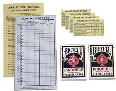 D&W Custom Wood Designs Pinochle Score Pad Gift Set (Blue) 40Page Score Padtwo