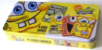SpongeBob SquarePants Nickelodeon 4Tin Box Set Go Fishrummyspit And Crazy Eights