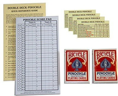 D&W Custom Wood Designs Pinochle Score Pad Gift Set (Red) 40 Page Score Padtwo