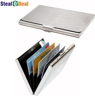 Stealodeal Stainless Steel Pocket Business Credit Debit With Metal 6 Card Holder