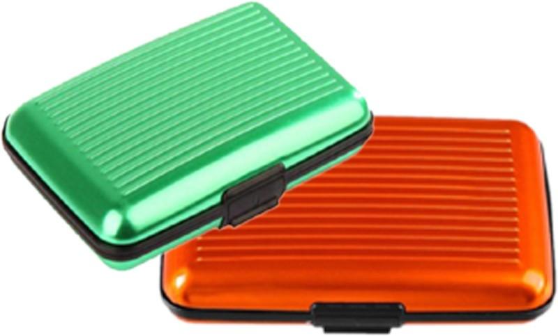 Alexus 6 Card Holder Card Holder Combo of Green Orange