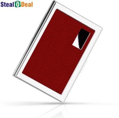 Stealodeal Red Stainless Steel Pocket Business Credit Debit 6 Card Holder