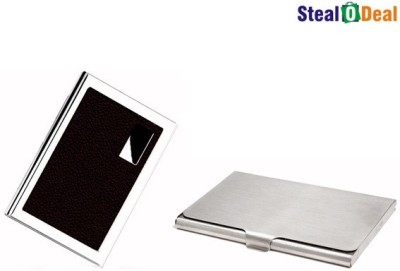 Stealodeal Brown Business Atm Wallet With Steel 6 Card Holder