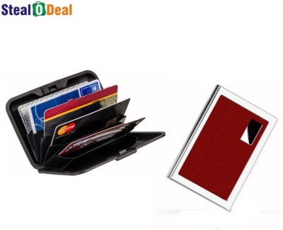Stealodeal Red Metal Waterproof Business Atm With Multicolor Plastic Aluma 6 Card Holder