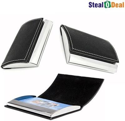 Stealodeal Black Steel Side Elegant Visiting Set of 20 Card Holder