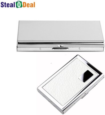 Stealodeal Leather Piece White Metal and Plain Silver Business 6 Card Holder