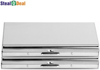 Stealodeal Metal Silver Stainless Steel Business Case 6 Card Holder