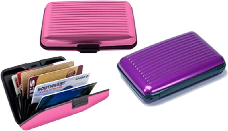 Alexus 6 Card Holder Card Holder Combo of Purple Pink