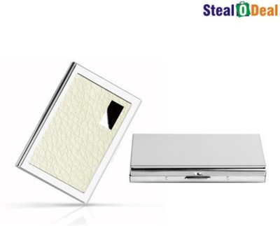Stealodeal White Metal and Plain Silver Stainless Steel Business Case 6 Card Holder