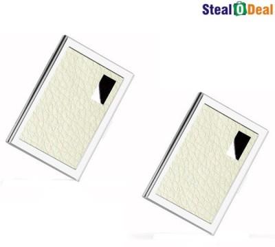 Stealodeal White Luxury Steel Aluminum 6 Card Holder