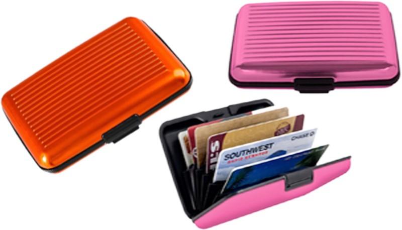 Alexus 6 Card Holder Card Holder Combo of Orange Light Pink