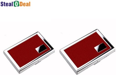 Stealodeal Red Set of Leather Piece Stainless Steel 6 Card Holder