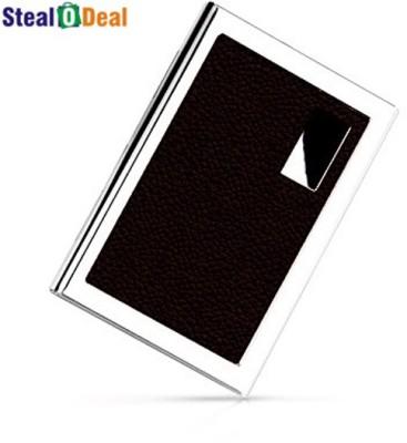 Stealodeal Brown Stainless Steel Pocket Business Credit Debit 6 Card Holder