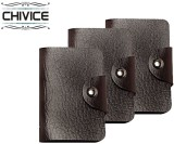 CHIVICE 10 Card Holder (Set of 3, Brown)