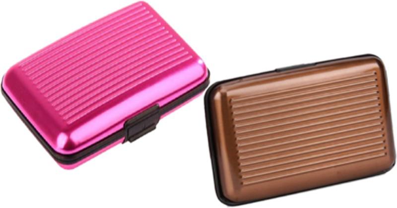 Alexus 6 Card Holder Card Holder Combo of Brown Dark Pink