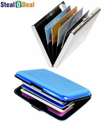 Stealodeal Metal Silver Stainless Steel Business Case with Aluminium Aluma 6 Card Holder