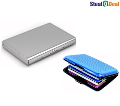 Stealodeal Silver Plated Business Case With Aluma Wallet 6 Card Holder
