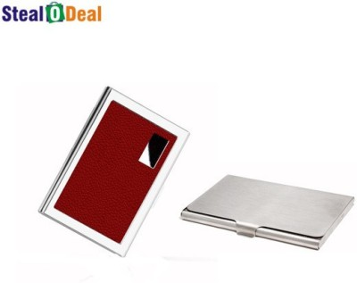 Stealodeal Red Business Atm Wallet With Steel 6 Card Holder