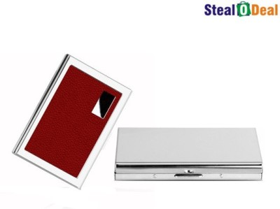 Stealodeal Red Metal and Plain Silver Stainless Steel Business Case 6 Card Holder