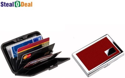 Stealodeal Leather Piece Red Metal With Multicolor Plastic Aluma 6 Card Holder