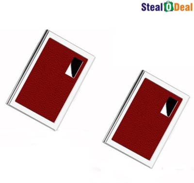 Stealodeal Red Luxury Steel Aluminum 6 Card Holder