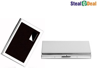 Stealodeal Brown Metal and Plain Silver Stainless Steel Business Case 6 Card Holder
