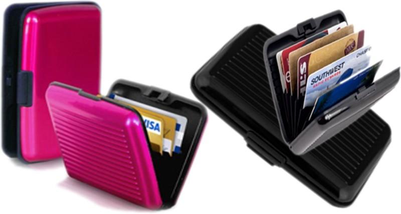 Alexus 6 Card Holder Card Holder Combo of Black Megenta