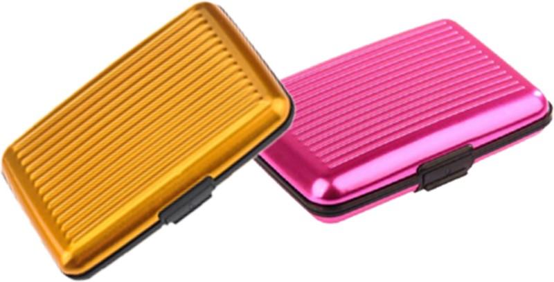 Alexus 6 Card Holder Card Holder Combo of Yellow Dark Pink
