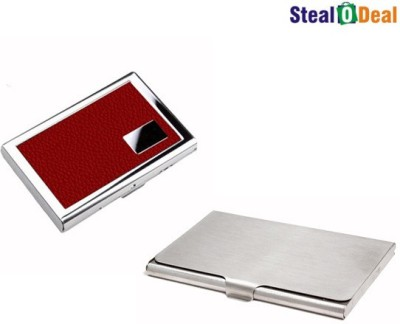 Stealodeal Leather Piece Red Atm Wallet With Simple Steel 6 Card Holder
