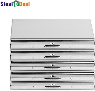 Stealodeal Aluminum Silver Business Debit/Credit Metal Box 6 Card Holder