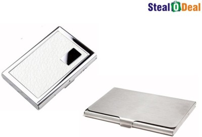Stealodeal Leather Piece White Atm Wallet With Simple Steel 6 Card Holder