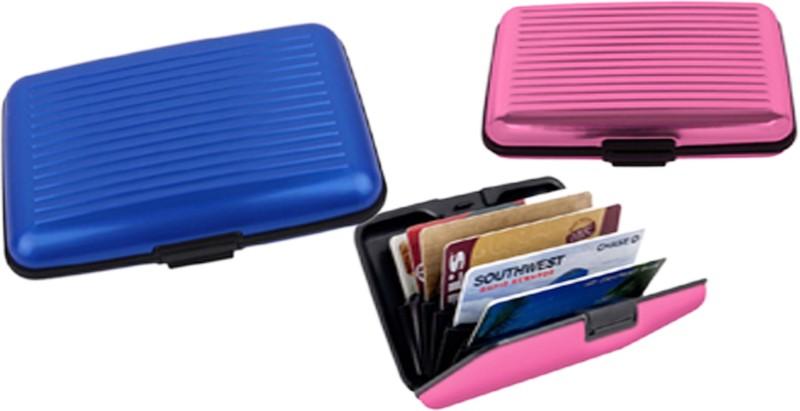 Alexus 6 Card Holder Card Holder Combo of Blue Pink